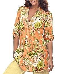 K-youth Camisas para Mujer, Túnica con Cuello en V de Estampado Floral Vintage de Mujer Tops de Talla Grande de Moda para Mujer Casual…