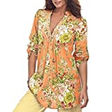 K-youth Camisas para Mujer, Túnica con Cuello en V de Estampado Floral Vintage de Mujer Tops de Talla Grande de Moda para Mujer Casual Blusa Suelto Tops 2018 Oferta (Amarillo, XXXL)