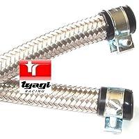 8mm diametro interno acciaio inossidabile intrecciato tubo carburante in gomma di nitrile con stazioni di finitura fine & clip lunghezza–1.5meter
