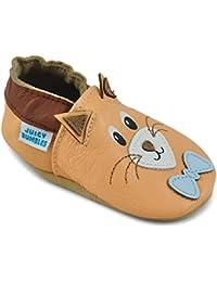 Zapatos Bebe Niña Niño – Zapatillas de Cuero – Patucos de Piel con Elástico para Bebé - Zapatitos Primeros Pasos - Pantuflas Infantiles 0-6 Meses 6-12 Meses 12-18 Meses 18-24 Meses