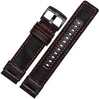 24mm Cinturino Nylon Tessuto Tela Militare Nero cuciture rosse nero fibbia