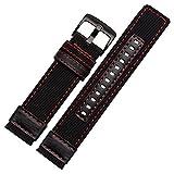 24mm Military Army schwarz Nylon Stoff Leinwand Uhrenarmband rot Naht schwarz Schnalle