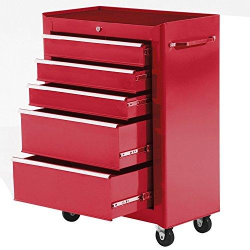 Homcom Carro de Herramientas Taller Movil con 5 Cajones Ruedas 3 Colores (Rojo)