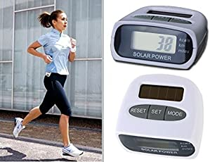 Tiny Deal Solar Power Calorie Consumption Run Step Pedometer Distance Counter With LCD Screen-White
