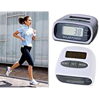 PIA INTERNATIONAL® Solar Power Calorie Consumption Run Step Pedometer Distance Counter With LCD Screen-White