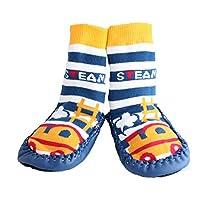 Baby Boy Toddlers Kids Indoor Slipper Shoe Socks Moccasins ANTI SLIP BLUE STEAM TRAIN (9-18 MTHS)