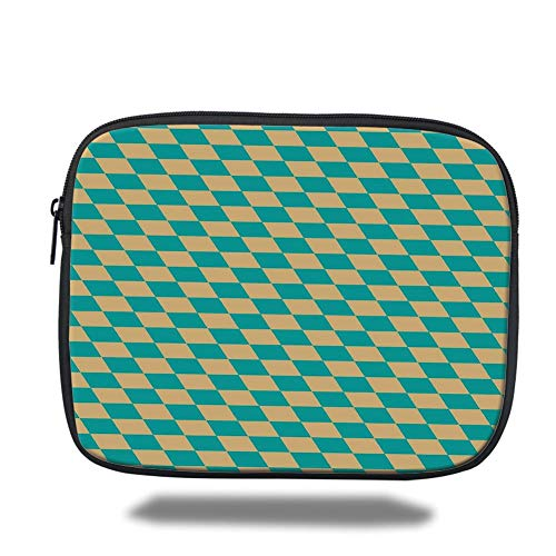 Tablet Bag for Ipad air 2/3/4/mini 9.7 inch,Geometric,Art Deco Style Chess Table Dart Like Horizontal Vintage Image,Turquoise and Light Yellow -