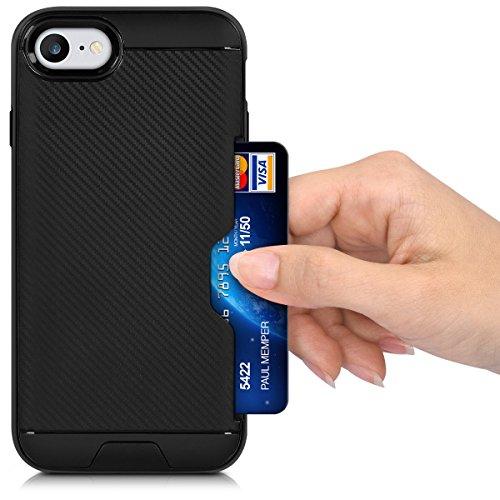 kwmobile Hülle für Apple iPhone 7 / 8 - Hybridhülle Dual Case Handy Schutzhülle TPU Silikon - Hybrid Cover Schwarz .Schwarz Carbon