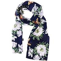 BESTOYARD Bufanda de flores de gasa lindo precioso satén de dos pisos bufandas impresas chales de seda suave abrigo de verano para dama de las mujeres