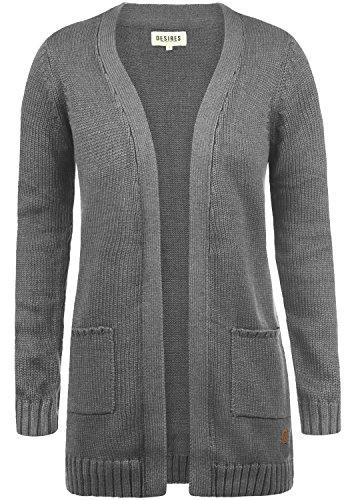 DESIRES Paula Damen Lange Strickjacke Cardigan Grobstrick Winter Longstrickjacke mit V-Ausschnitt, Größe:M, Farbe:Grey Melange (8236)