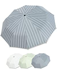 DORRISO Mujer Raya Plegables Paraguas Portátil Compacto Resistente al Viento Impermeable Durable Ligero Cómodo Viaje Negocios