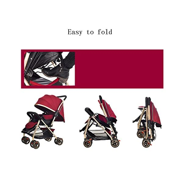 Luxury Baby Stroller Light High-Landscape Pram Portable Folding Umbrella Baby Carriage Baby Stroller on The Airplane (Color : Red) AILI-pushchairs Ten wheel front wheel four-wheel suspension, built-in bearing steering flexible four-wheel shock absorber to reduce bumps. It can be used to sit and recline freely to adjust the seasons. The measured width is wide and comfortable, creating a comfortable sleeping environment for the baby. 7