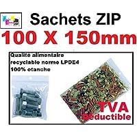 200 bolsa zip 100 x 150 mm bolsas con cremallera de cierre 10 X 15 cm cierre a presión estándar ECE alimentairet compatible congelación