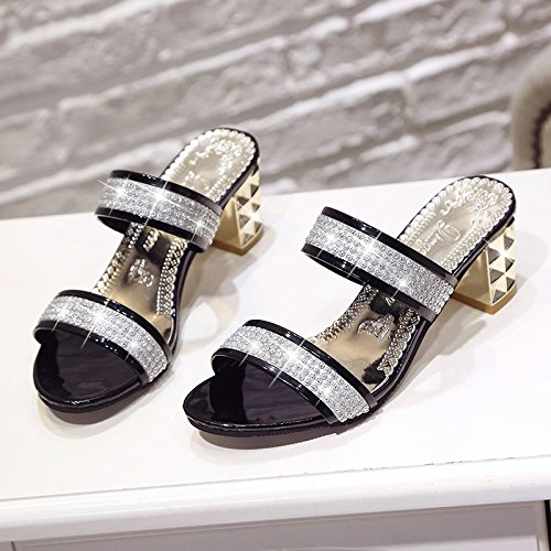 ZYUSHIZ Mme Version coréenne de l'été sandales pantoufles Faites glisser et déposez un champ Black
