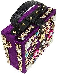 Double Flower Purple Velour Crystal Flower Women Fashion Handbag Box Clutch Top Handle Totes Purse Shoulder &...
