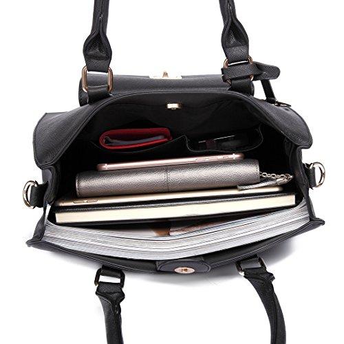 Miss LuLu Handtasche Damen Aktentasche Bürotasche Tote Bag PU-Leder Elegant Groß (LT6635-Schwarz) LT6635-Schwarz