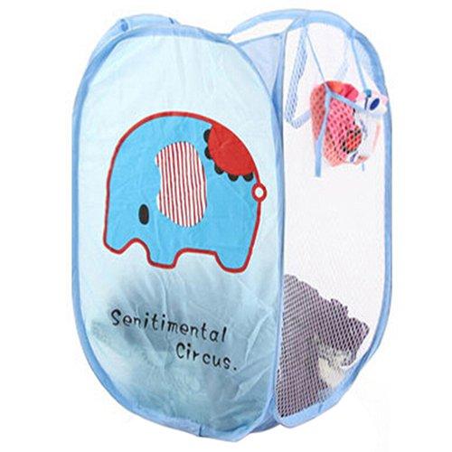 display08Faltbare Pop-Up Korb behindern Kleidung Tasche Mesh Wäschesack Aufbewahrung Kleidung Organizer elefant (Schmutzige Wäsche Behindern)
