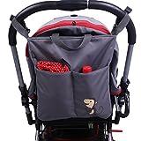 IntiPal Kinderwagen Organizer Tasche Wasserdichte Wickeltasche für Buggy (Grau mit Affe)