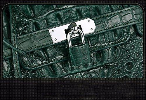 lpkone-Le nouveau modèle de crocodile en vrac sac sacs à main dames fashion luxury forfait Platine Dark Green