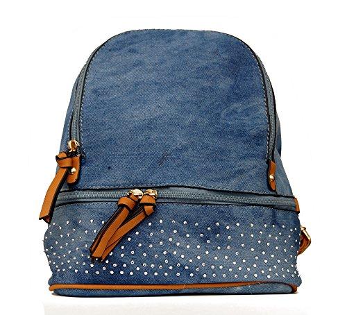 Damen Tasche Cityrucksack MiniRucksack Schultertasche Umhangtasche Handtasche kleiner Rucksack Stadtrucksack in Jeans Farben aus Kunstleder Blau-Braun
