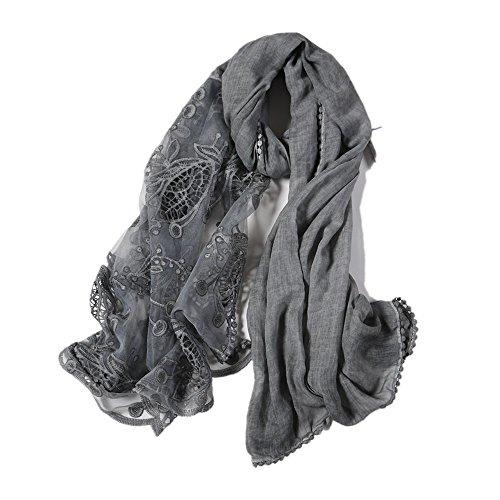XLNSMZ Frühling, Sommer und Herbst Retro Spitze Schal Baumwolle und Leinen Schal Schal weiblichen Strand Schal, grau