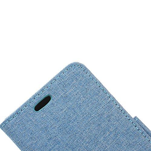 Coque pour Apple iPhone 6/6S 4.7 Zoll,Housse en cuir pour Apple iPhone 6/6S 4.7 Zoll,Ecoway Céréales Burlap téléphone ensembles étui en cuir Cuir Flip Magnétique Portefeuille Etui Housse de Protection bleu