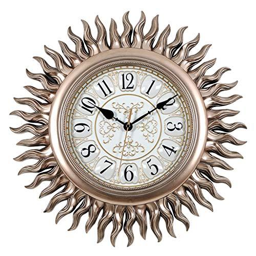 Lily Hauptwanduhr Kreative Sonnen-förmige Wohnzimmer-Wanduhr, stille Quarz-Uhr der europäischen und amerikanischen Art 20 Zoll Stumm schalten (Color : Chrome) - Chrome Digital Uhr