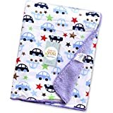 Baby Bucket Double Layer Velvet Fleece Newborn Printed Baby Blanket (VEL 76X102 WH CARS+S)