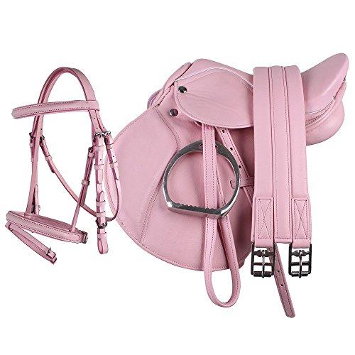 netproshop Junior Sattel Set komplett für Shettys BZW Ponys, englisches Sattelset, Kunstleder, Farbe:Rosa