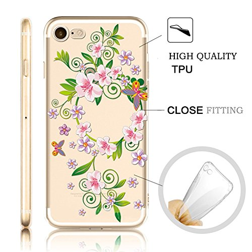 iPhone 7 Coque iPhone 7 Etui iPhone 7 Housse Case Cover,MingKun Ultra-Thin Crystal Clear TPU Silicone Clair Transparente Coque pour iPhone 7 Ultra Mince Premium Transparent Etui pour iPhone 7 Exact Fi Série fleurs-3