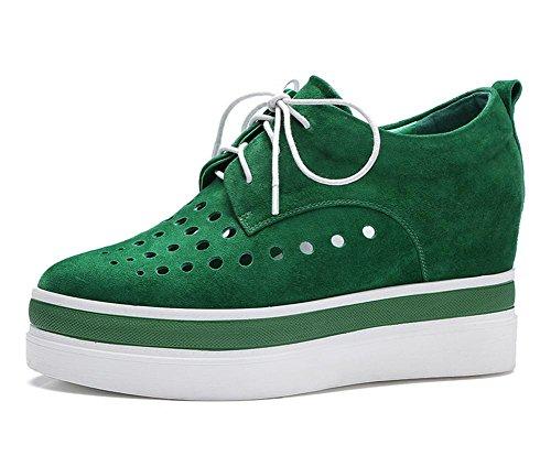 2017 nuovi pattini delle donne di pecora camoscio aumentato cintura pizzo scarpe casual casuale Green