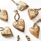 10 Stück kleine gold farbene Holz Herzen 4 + 5 cm Schnur Herzanhänger Holzherzen zum Aufhängen als Weihnachtsdeko Christbaumschmuck Baumschmuck Geschenkanhänger Zierschmuck Hochzeitsdeko Deko