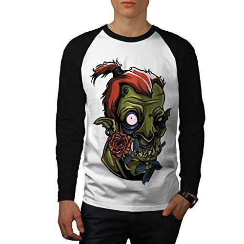 Tod Rose Grün Zombie Gruselig Liebe Herren XL Baseball lange Ärmel T-Shirt | Wellcoda (Lange Liebe Ärmel Zombies,)