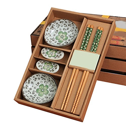 Vinmax, set da tavola in ceramica giapponese, piattini da sushi per due, portatile, con scatola regalo green