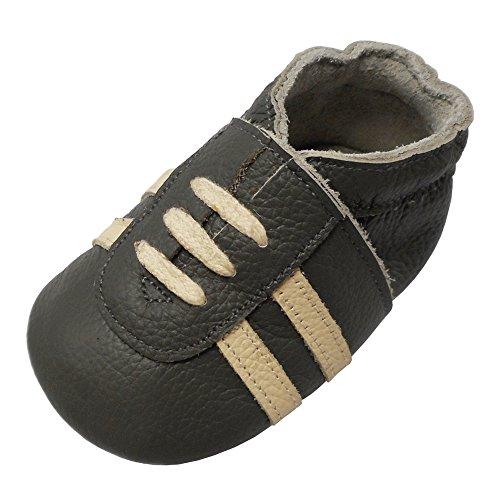 YIHAKIDS Weicher Leder Lauflernschuhe Krabbelschuhe Babyhausschuhe Turnschuh Sneakers mit Wildledersohlen(Dunkelgrau,6-12 Monate)