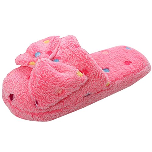 Zapatillas para mujer Zapatos de mujer Invierno Interior Casa Casual Piel sintética Calentar Antideslizante Zapatillas LMMVP (40-41, Rojo)