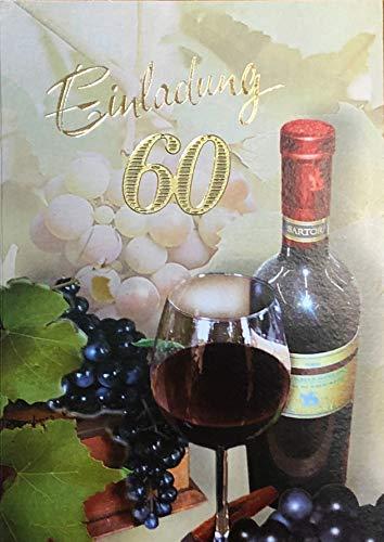 Einladungskarten 60. Geburtstag Frau Mann mit Innentext Motiv Rotwein 10 Klappkarten DIN A6 im Hochformat mit weißen Umschlägen im Set Geburtstagskarten Einladung 60 Geburtstag Mann Frau K179 (Geburtstag Party-einladungen 60.)