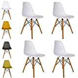 Cosy7 Luna Collection Eiffel Style DSW Modern Dining Chairs White Set of 4 | Solid Beech Wooden Legs, Comfy Seat, Well Blended Colours & Timeless Retro Design | For Living Room, Desk, Patio, Terrace, Office, Kitchen, Lounging, Cafeterias & More