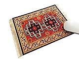 Inusitus Teppich Mauspad - Büro Zubehör - Orientalischer Teppich Computer Zubehör (Rot-Schwarz)