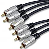 Reines Kupfer OFC 3 x Chinch Cinch Stecker Zum Stecker Composite & Audio Kabel Vergoldeten 3 m