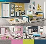 Jugendzimmer Kinderzimmer komplett 4TEEN Set B weiß & türkis,rosa,grau,grün, Farbauswahl Schrank Standregal Kommode Schreibtisch Bett 200x90 Wandregal