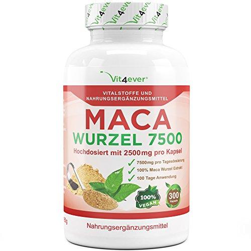 Maca Wurzel 7500, 300 Kapseln, 2500 mg aus Maca 10:1 Wurzel Extrakt - Laborgeprüft - Hochdosiert - Für Aktive Männer - Vegan - Vi4ever