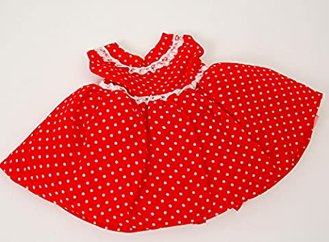 FRILLY LILY RED SPOTTY PARTY DRESS FOR CABBAGE PATCH KIDS