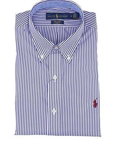 Polo ralph lauren, camicia custom fit stretch con bottoncini e logo righe bianco e blu.