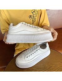 Zapatos de mujer de suela gruesa con el mismo párrafo bajo para ayudar a los deportes casuales para mujer (color: blanco)