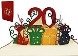 LIN 17531, POP - Up 3D Karten 20 Geburtstag, Geburtstagskarte 20 Jahre Jubiläum, 20 Party Einladungen, Grußkarten 20. Geburtstag, rot, Nr.285