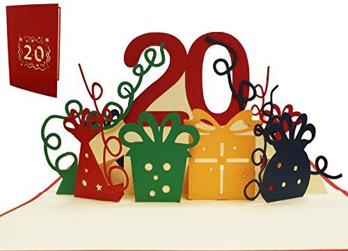 LIN 17531, POP - Up 3D Karten 20 Geburtstag, Geburtstagskarte 20 Jahre Jubiläum, 20 Party Einladungen, Grußkarten 20. Geburtstag, rot, Nr.285 (Billig Einladungen Geburtstag 60)