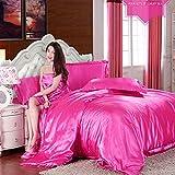 huanle Seidenseide Aus Seide, Vier Teile, Einfarbig, Doppelte Zaubersimulation, Seidensatin-Bettwäsche Für 2m Bett