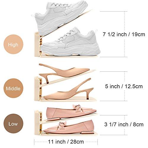 HULISEN Organizadores Ajustables de Zapatos con Ranuras Soportes de Calzado Apilador para Zapatos Ahorro de Espacio (8 Packs-Beige)