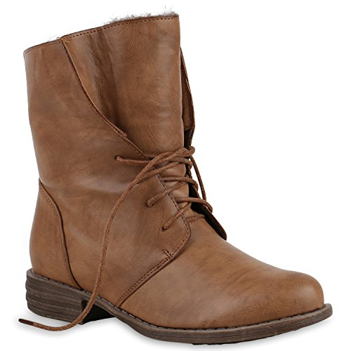 Damen Schuhe Worker Boots Warm gefüttert mit Blockabsatz Khaki Khaki